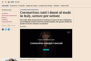 Coronavirus tutti i danni al made in Italy