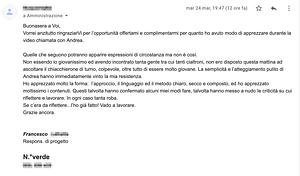 SMARTUP - testimonianza cliente via email